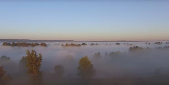 Мой рай... Пролетая над рекой Сок, туман, рассвет.